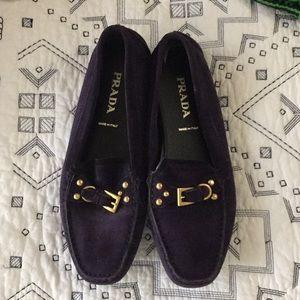 Purple suede Prada loafers